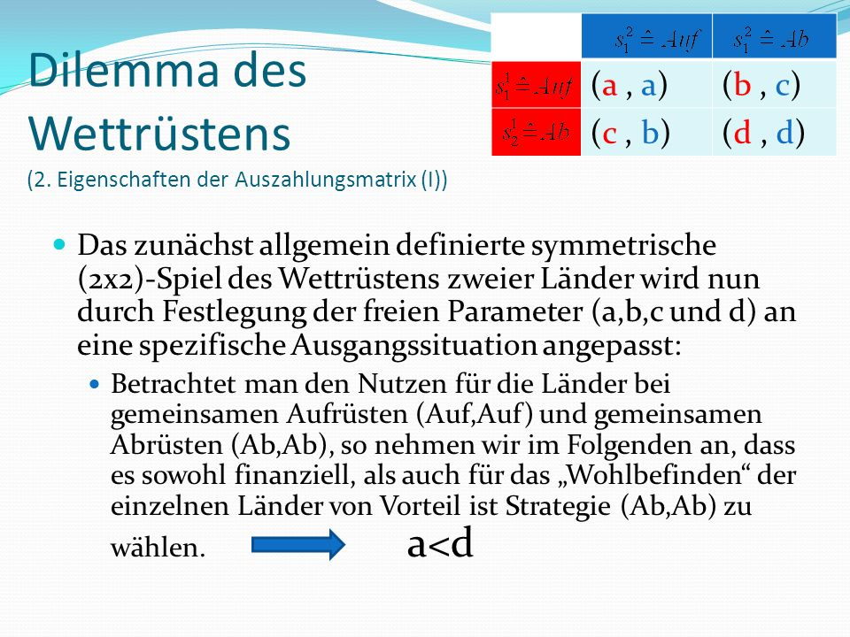 """Das zunächst allgemein definierte symmetrische (2x2)-Spiel des Wettrüstens zweier Länder wird nun durch Festlegung der freien Parameter (a,b,c und d) an eine spezifische Ausgangssituation angepasst: Betrachtet man den Nutzen für die Länder bei gemeinsamen Aufrüsten (Auf,Auf) und gemeinsamen Abrüsten (Ab,Ab), so nehmen wir im Folgenden an, dass es sowohl finanziell, als auch für das """"Wohlbefinden der einzelnen Länder von Vorteil ist Strategie (Ab,Ab) zu wählen."""