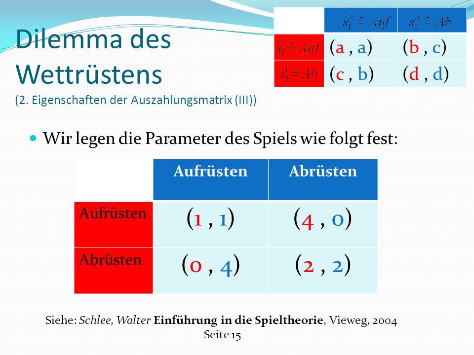 Wir legen die Parameter des Spiels wie folgt fest: Dilemma des Wettrüstens (2.