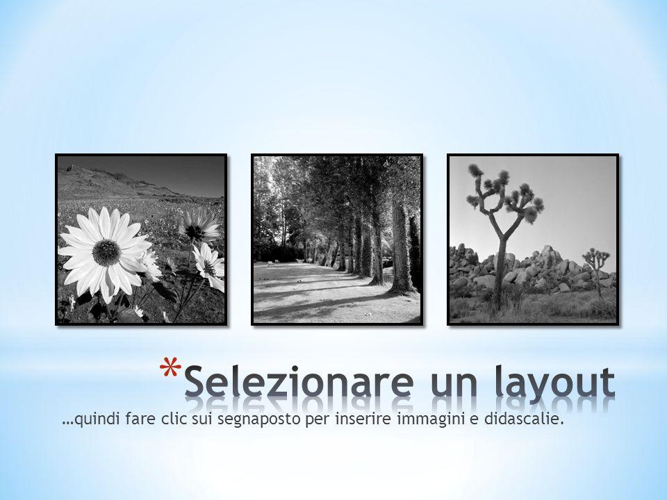 …quindi fare clic sui segnaposto per inserire immagini e didascalie.