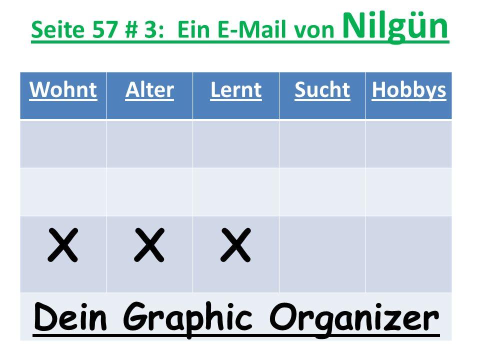 Seite 57 # 3: Ein E-Mail von Nilgün WohntAlterLerntSuchtHobbys XXX Dein Graphic Organizer