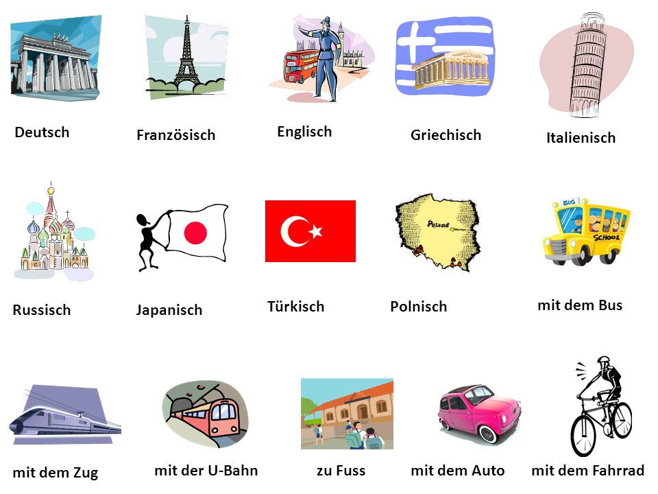 Deutsch mit dem Bus PolnischTürkisch JapanischRussisch mit dem Fahrradmit dem Autozu Fussmit der U-Bahn mit dem Zug Französisch Englisch Griechisch Italienisch
