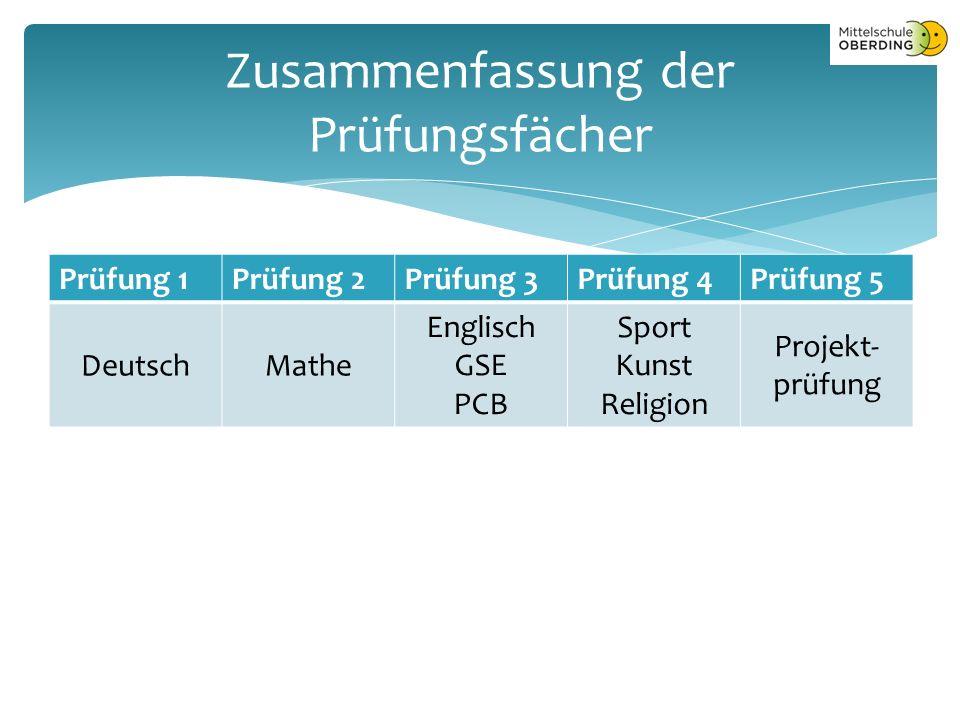 Prüfung 1Prüfung 2Prüfung 3Prüfung 4Prüfung 5 DeutschMathe Englisch GSE PCB Sport Kunst Religion Projekt- prüfung Zusammenfassung der Prüfungsfächer