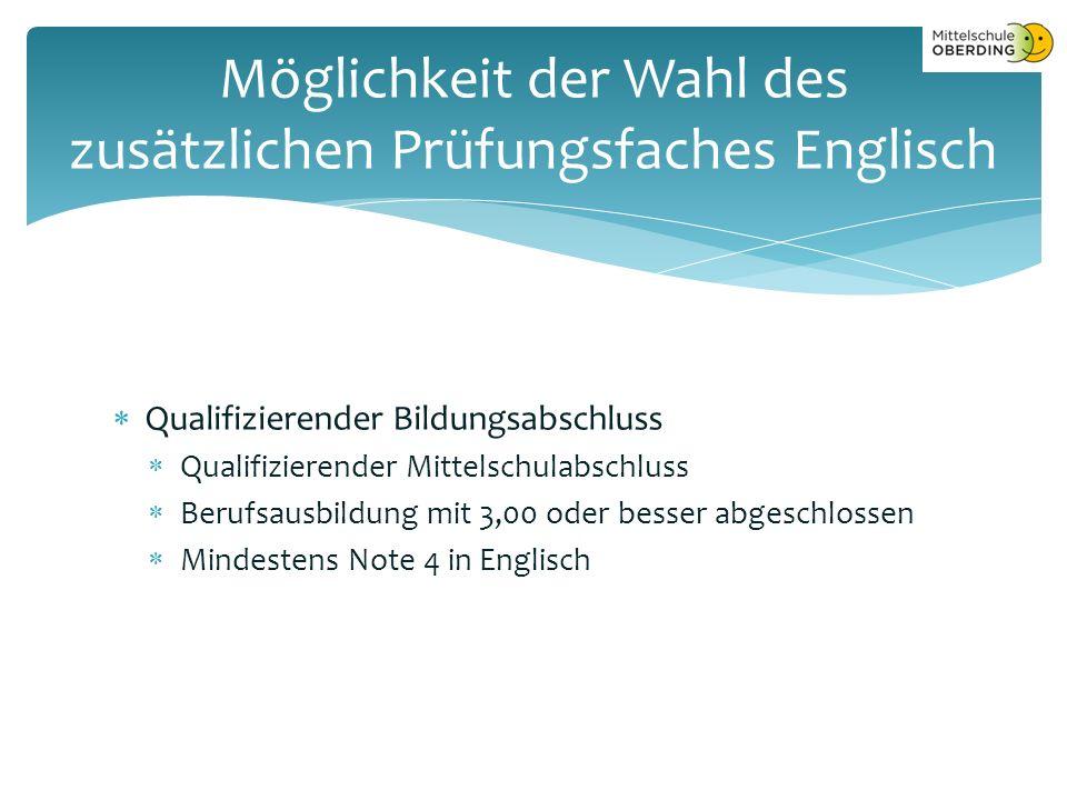  Qualifizierender Bildungsabschluss  Qualifizierender Mittelschulabschluss  Berufsausbildung mit 3,00 oder besser abgeschlossen  Mindestens Note 4 in Englisch Möglichkeit der Wahl des zusätzlichen Prüfungsfaches Englisch