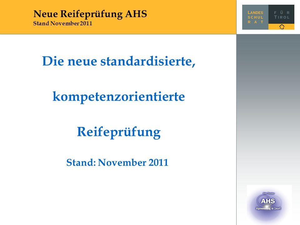 Rechtsgrundlagen SchUG (§§ 23, 34-41, 82b) Reifeprüfungs-Verordnung (voraussichtlich ab 2012) Leitfäden (dringende Empfehlungen) erstmalige Durchführung: Haupttermin 2014 (bzw.