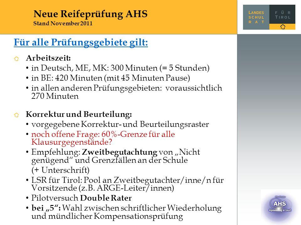 Für alle Prüfungsgebiete gilt: Arbeitszeit: in Deutsch, ME, MK: 300 Minuten (= 5 Stunden) in BE: 420 Minuten (mit 45 Minuten Pause) in allen anderen Prüfungsgebieten: voraussichtlich 270 Minuten Korrektur und Beurteilung: vorgegebene Korrektur- und Beurteilungsraster noch offene Frage: 60%-Grenze für alle Klausurgegenstände.