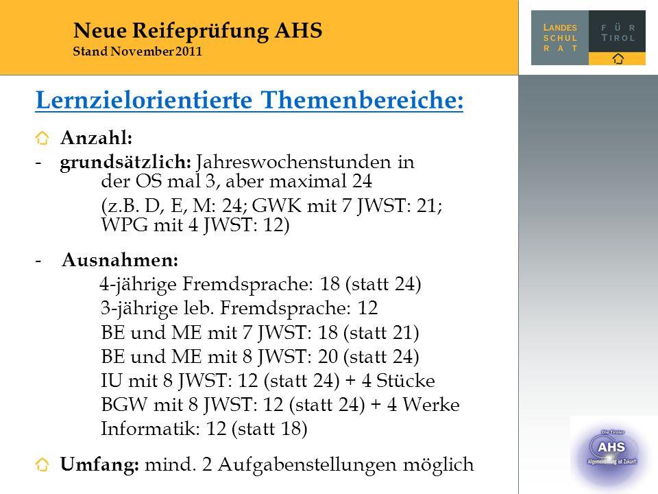 Lernzielorientierte Themenbereiche: Anzahl: - grundsätzlich: Jahreswochenstunden in der OS mal 3, aber maximal 24 (z.B. D, E, M: 24; GWK mit 7 JWST: 2