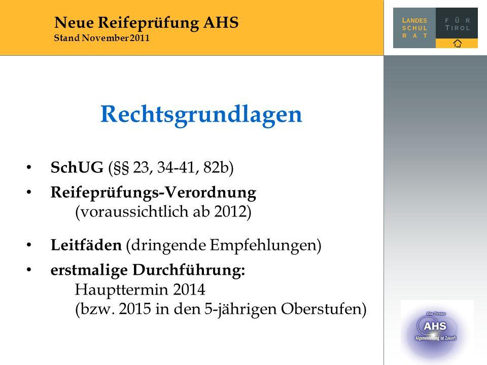 Rechtsgrundlagen SchUG (§§ 23, 34-41, 82b) Reifeprüfungs-Verordnung (voraussichtlich ab 2012) Leitfäden (dringende Empfehlungen) erstmalige Durchführu