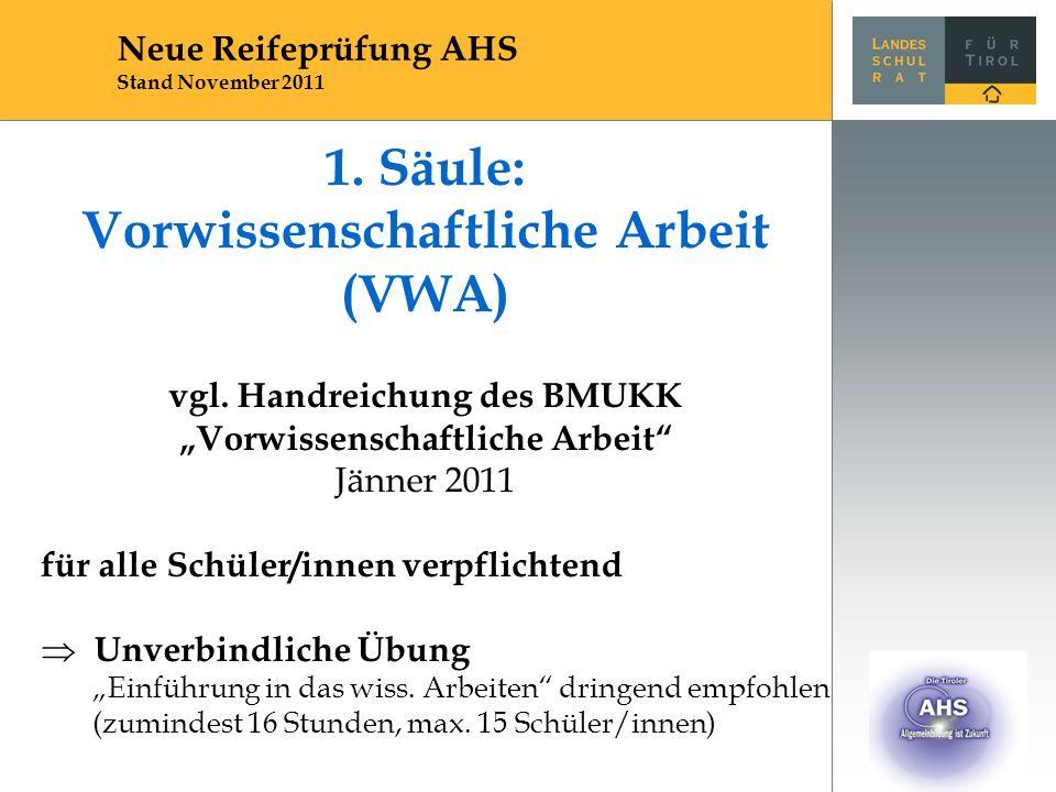 """1. Säule: Vorwissenschaftliche Arbeit (VWA) vgl. Handreichung des BMUKK """"Vorwissenschaftliche Arbeit"""" Jänner 2011 für alle Schüler/innen verpflichtend"""