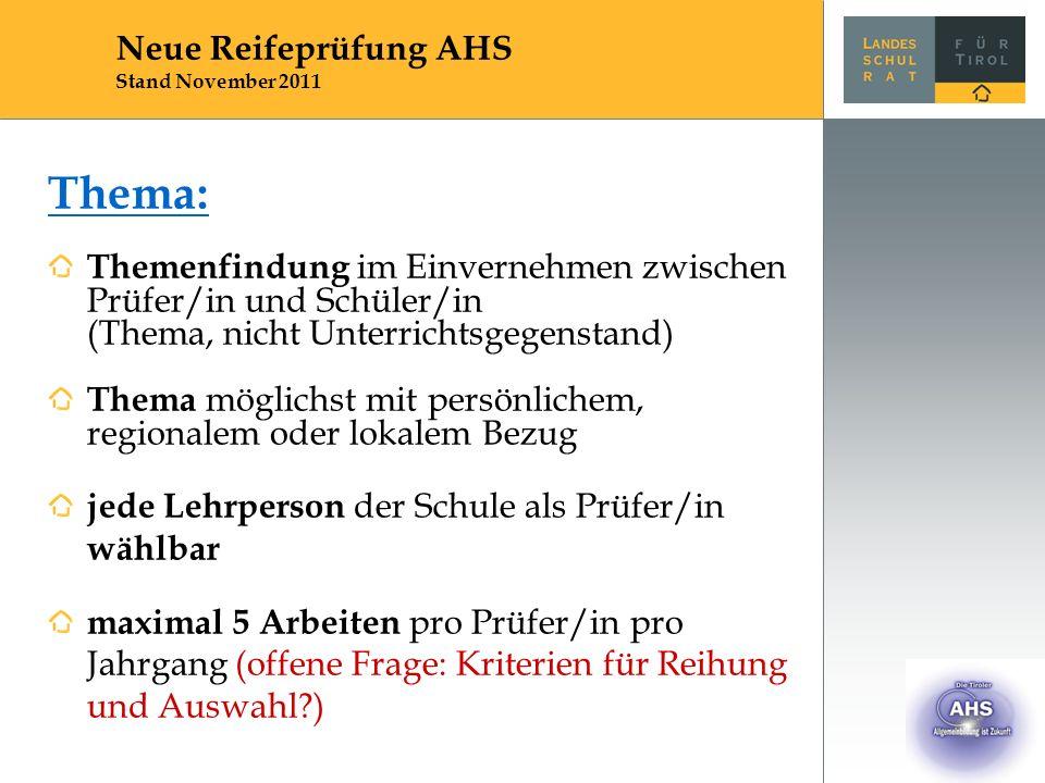 Thema: Themenfindung im Einvernehmen zwischen Prüfer/in und Schüler/in (Thema, nicht Unterrichtsgegenstand) Thema möglichst mit persönlichem, regional