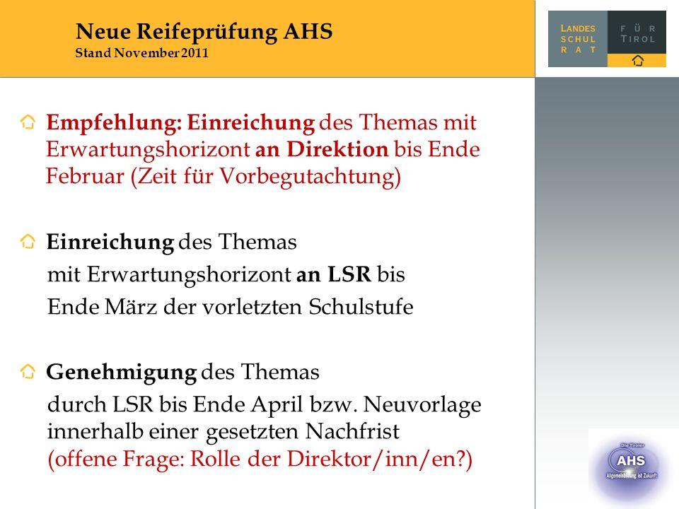 Empfehlung: Einreichung des Themas mit Erwartungshorizont an Direktion bis Ende Februar (Zeit für Vorbegutachtung) Einreichung des Themas mit Erwartun