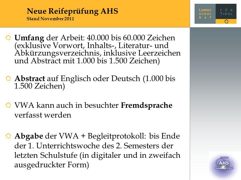 Umfang der Arbeit: 40.000 bis 60.000 Zeichen (exklusive Vorwort, Inhalts-, Literatur- und Abkürzungsverzeichnis, inklusive Leerzeichen und Abstract mit 1.000 bis 1.500 Zeichen) Abstract auf Englisch oder Deutsch (1.000 bis 1.500 Zeichen) VWA kann auch in besuchter Fremdsprache verfasst werden Abgabe der VWA + Begleitprotokoll: bis Ende der 1.