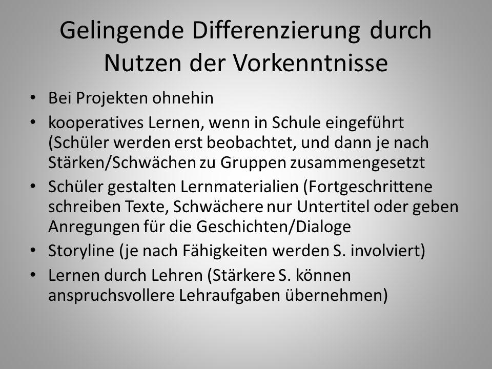 Gelingende Differenzierung durch Nutzen der Vorkenntnisse Bei Projekten ohnehin kooperatives Lernen, wenn in Schule eingeführt (Schüler werden erst be