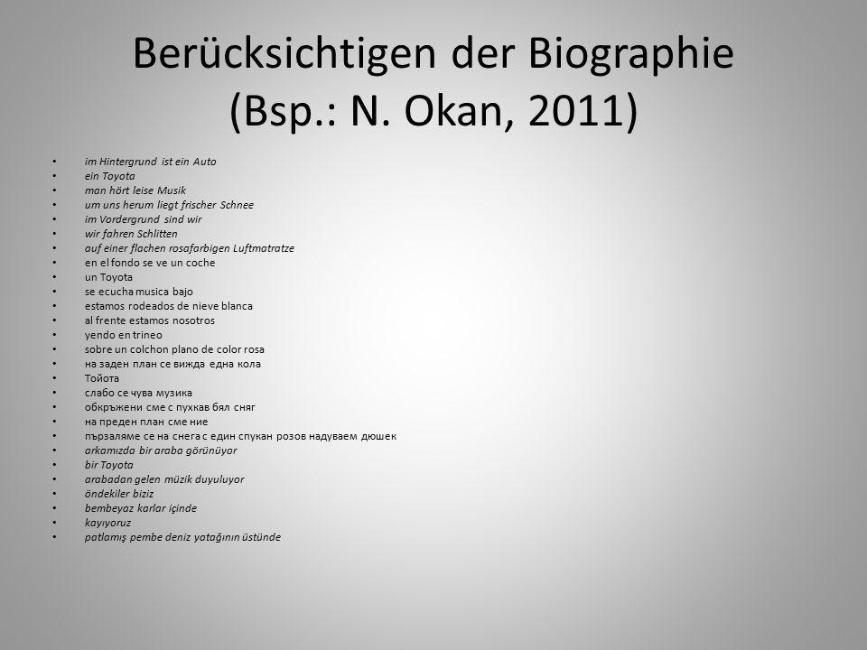 Berücksichtigen der Biographie (Bsp.: N.