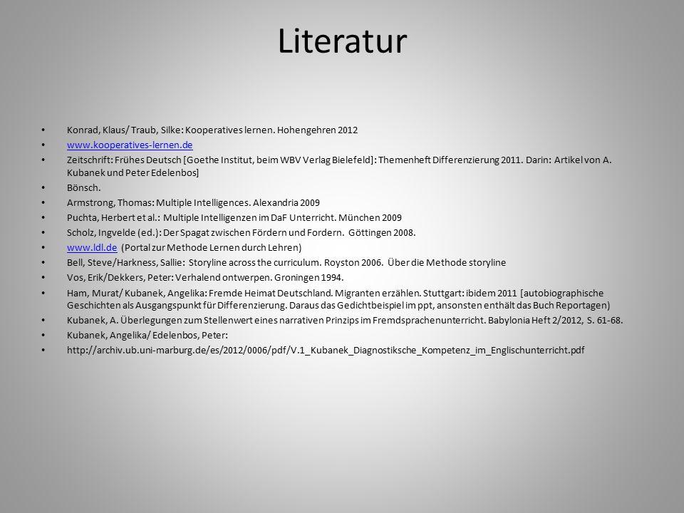 Literatur Konrad, Klaus/ Traub, Silke: Kooperatives lernen. Hohengehren 2012 www.kooperatives-lernen.de Zeitschrift: Frühes Deutsch [Goethe Institut,