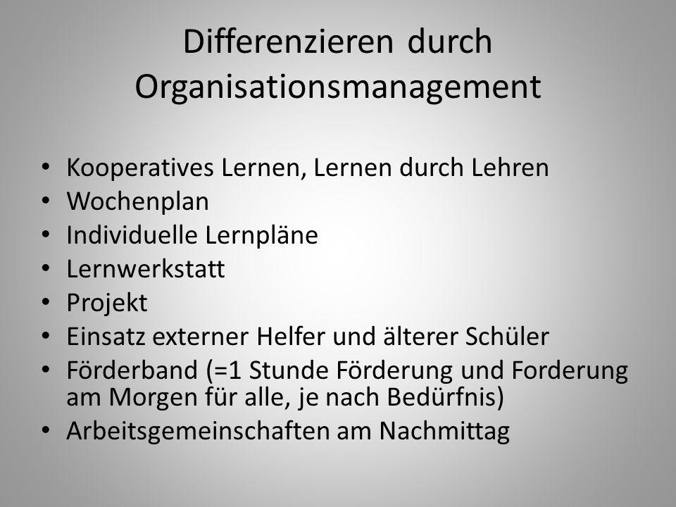 Differenzieren durch Organisationsmanagement Kooperatives Lernen, Lernen durch Lehren Wochenplan Individuelle Lernpläne Lernwerkstatt Projekt Einsatz