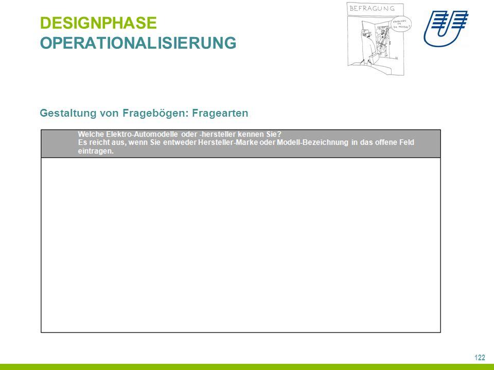 122 DESIGNPHASE OPERATIONALISIERUNG Gestaltung von Fragebögen: Fragearten