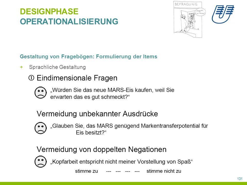 131 DESIGNPHASE OPERATIONALISIERUNG Gestaltung von Fragebögen: Formulierung der Items +Sprachliche Gestaltung