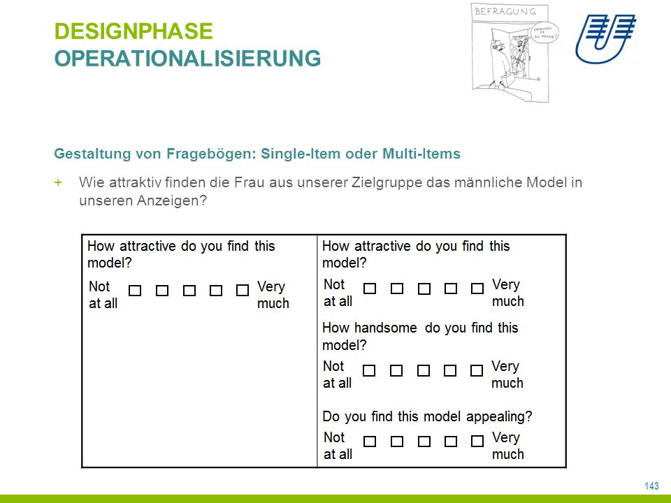 143 DESIGNPHASE OPERATIONALISIERUNG Gestaltung von Fragebögen: Single-Item oder Multi-Items +Wie attraktiv finden die Frau aus unserer Zielgruppe das männliche Model in unseren Anzeigen?