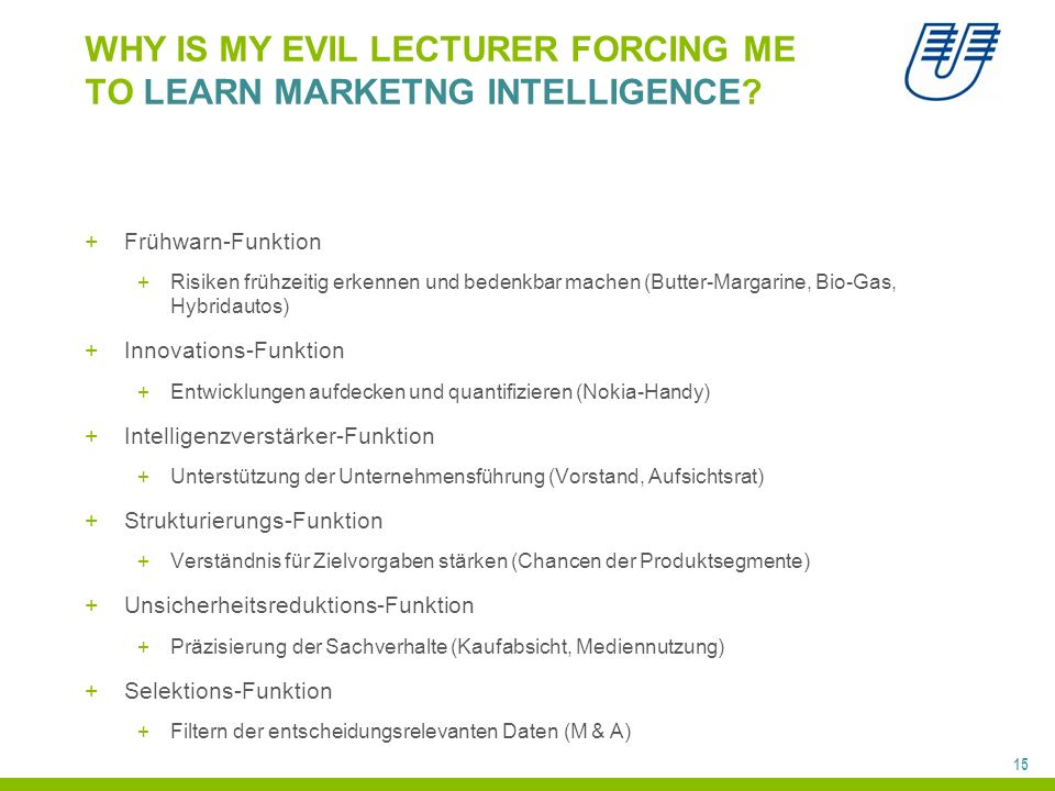 15 WHY IS MY EVIL LECTURER FORCING ME TO LEARN MARKETNG INTELLIGENCE.