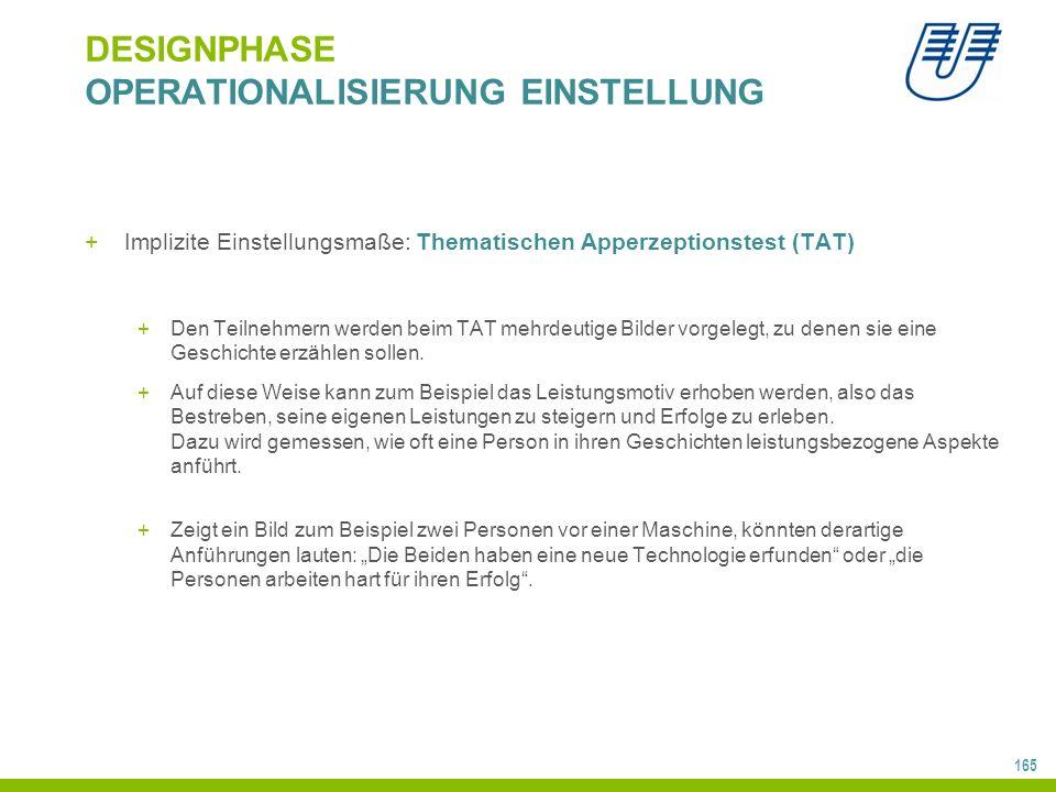 165 DESIGNPHASE OPERATIONALISIERUNG EINSTELLUNG +Implizite Einstellungsmaße: Thematischen Apperzeptionstest (TAT) +Den Teilnehmern werden beim TAT meh