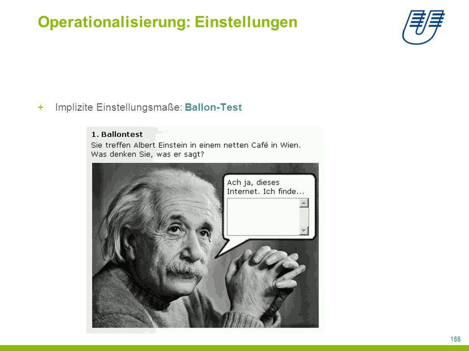 166 Operationalisierung: Einstellungen +Implizite Einstellungsmaße: Ballon-Test