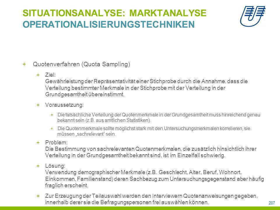 207 SITUATIONSANALYSE: MARKTANALYSE OPERATIONALISIERUNGSTECHNIKEN +Quotenverfahren (Quota Sampling) +Ziel: Gewährleistung der Repräsentativität einer