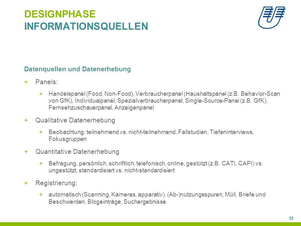 55 DESIGNPHASE INFORMATIONSQUELLEN Datenquellen und Datenerhebung +Panels: +Handelspanel (Food, Non-Food), Verbraucherpanel (Haushaltspanel (z.B. Beha