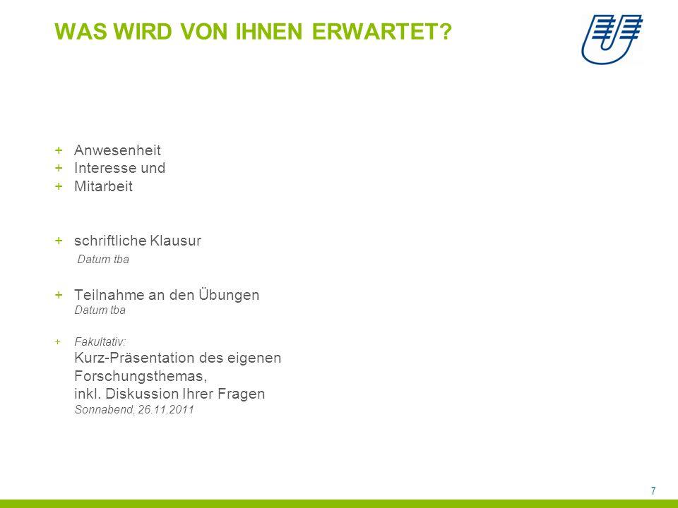 8 WEITERFÜHRENDE LITERATUR Lehrbücher für den Gesamtbereich: +Sedelmeier, Peter und Renkewitz, Frank (2008).