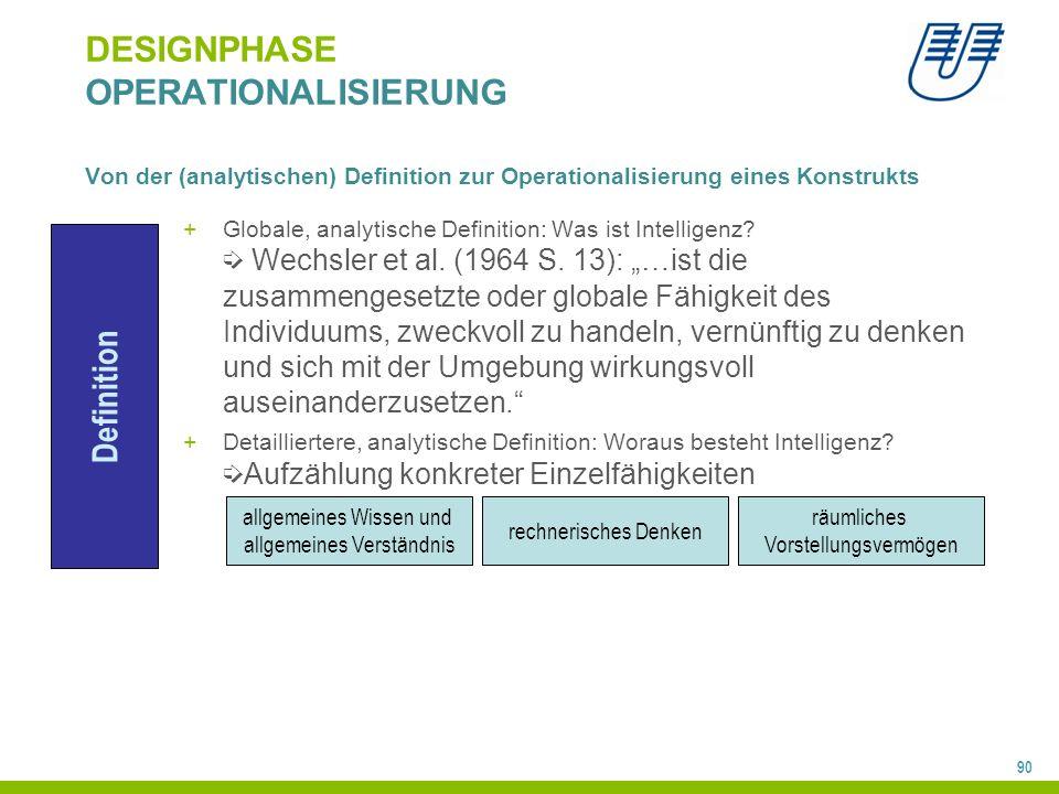 90 DESIGNPHASE OPERATIONALISIERUNG Von der (analytischen) Definition zur Operationalisierung eines Konstrukts +Globale, analytische Definition: Was is