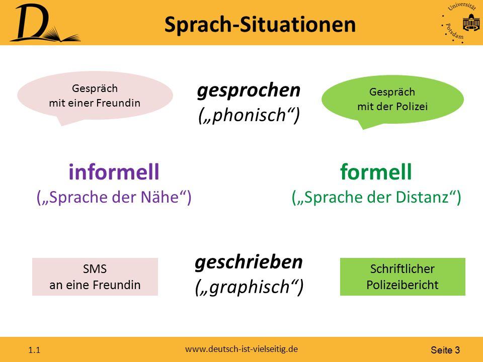 """Seite 3 www.deutsch-ist-vielseitig.de 1.1 Sprach-Situationen SMS an eine Freundin Schriftlicher Polizeibericht Gespräch mit der Polizei informell (""""Sp"""