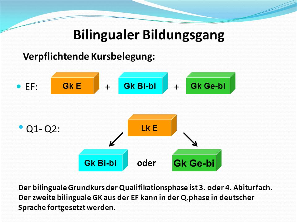 Bilingualer Bildungsgang EF:+ + Gk EGk Ge-biGk Bi-bi Lk E Gk Bi-bi Gk Ge-bi Der bilinguale Grundkurs der Qualifikationsphase ist 3.