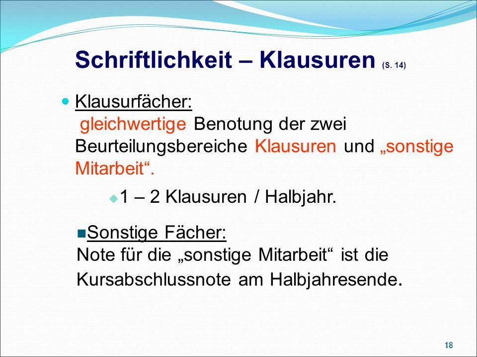 Schriftlichkeit – Klausuren (S.