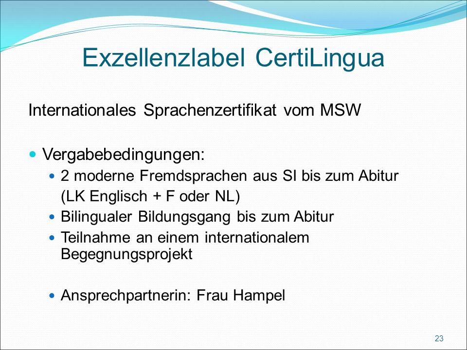Exzellenzlabel CertiLingua Internationales Sprachenzertifikat vom MSW Vergabebedingungen: 2 moderne Fremdsprachen aus SI bis zum Abitur (LK Englisch + F oder NL) Bilingualer Bildungsgang bis zum Abitur Teilnahme an einem internationalem Begegnungsprojekt Ansprechpartnerin: Frau Hampel 23