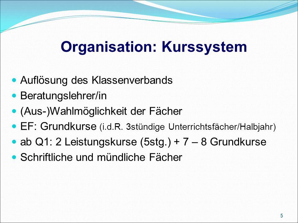 Organisation: Kurssystem Auflösung des Klassenverbands Beratungslehrer/in (Aus-)Wahlmöglichkeit der Fächer EF: Grundkurse (i.d.R.