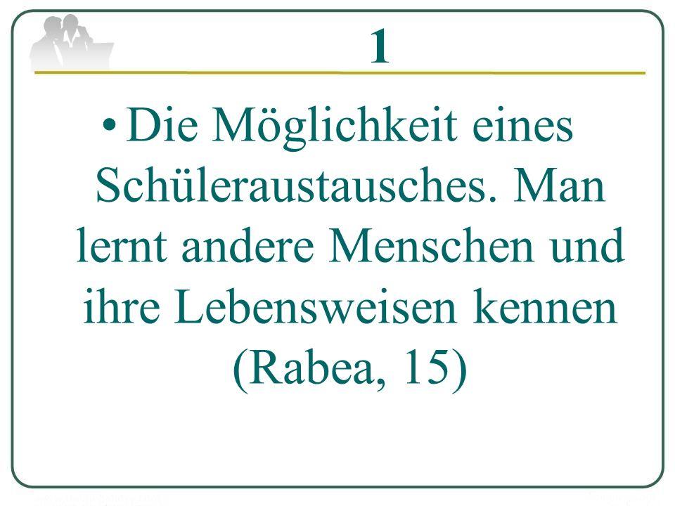 1 Die Möglichkeit eines Schüleraustausches. Man lernt andere Menschen und ihre Lebensweisen kennen (Rabea, 15)