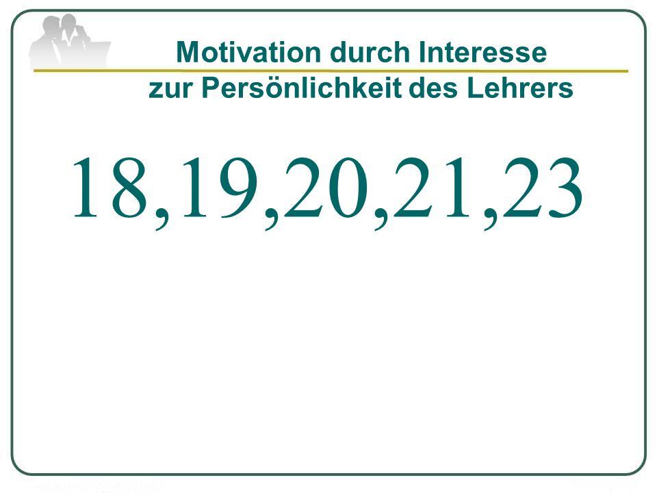 Motivation durch Interesse zur Persönlichkeit des Lehrers 18,19,20,21,23