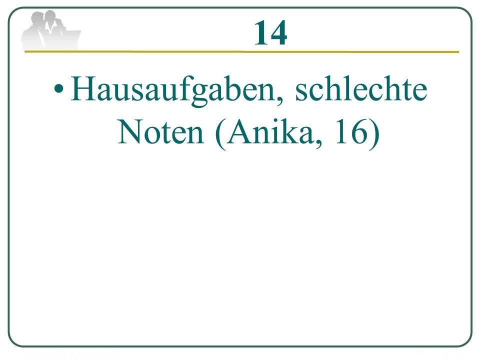 14 Hausaufgaben, schlechte Noten (Anika, 16)