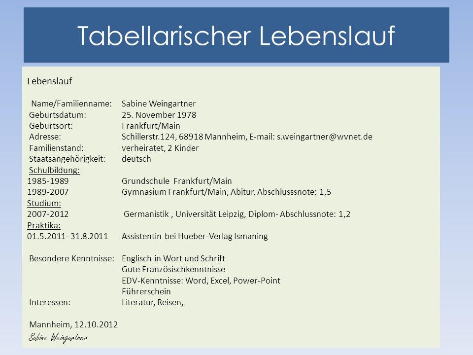 Tabellarischer Lebenslauf Lebenslauf Name/Familienname:Sabine Weingartner Geburtsdatum:25.