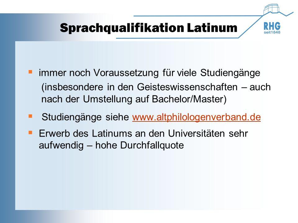 Sprachqualifikation Latinum  immer noch Voraussetzung für viele Studiengänge (insbesondere in den Geisteswissenschaften – auch nach der Umstellung au