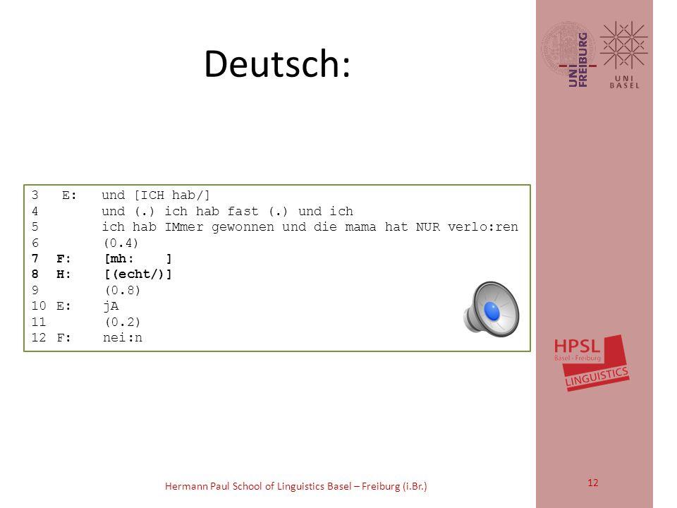 Hermann Paul School of Linguistics Basel – Freiburg (i.Br.) 2)Vergleichen Sie den Gebrauch von repair initiators im Deutschen, im Französischen und im Spanischen.
