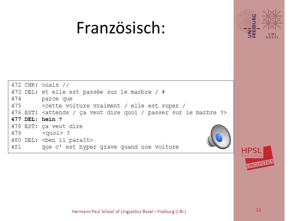 Hermann Paul School of Linguistics Basel – Freiburg (i.Br.) 3 E: und [ICH hab/] 4 und (.) ich hab fast (.) und ich 5 ich hab IMmer gewonnen und die mama hat NUR verlo:ren 6 (0.4) 7F: [mh: ] 8H: [(echt/)] 9 (0.8) 10E: jA 11 (0.2) 12F: nei:n Deutsch: 12
