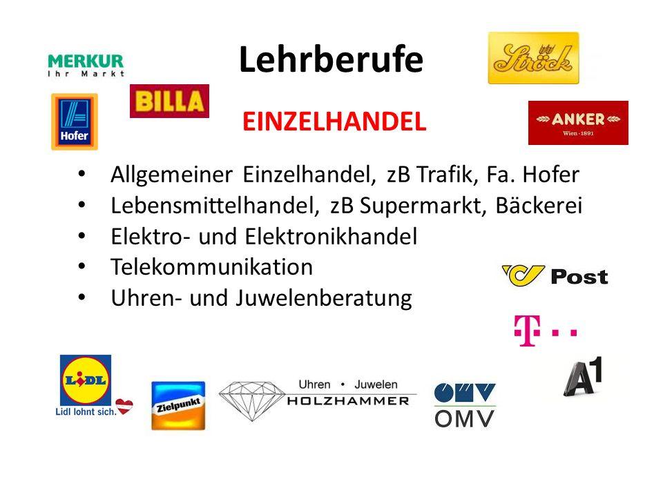 Lehrberufe Allgemeiner Einzelhandel, zB Trafik, Fa.