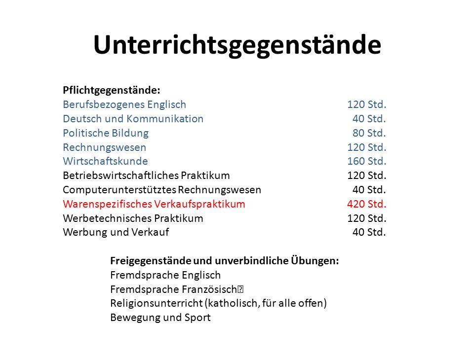 Unterrichtsgegenstände Pflichtgegenstände: Berufsbezogenes Englisch120 Std. Deutsch und Kommunikation 40 Std. Politische Bildung 80 Std. Rechnungswese