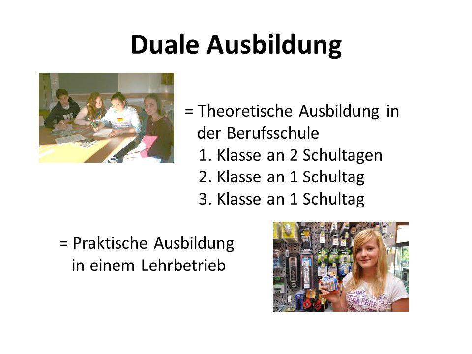 Duale Ausbildung = Theoretische Ausbildung in der Berufsschule 1. Klasse an 2 Schultagen 2. Klasse an 1 Schultag 3. Klasse an 1 Schultag = Praktische