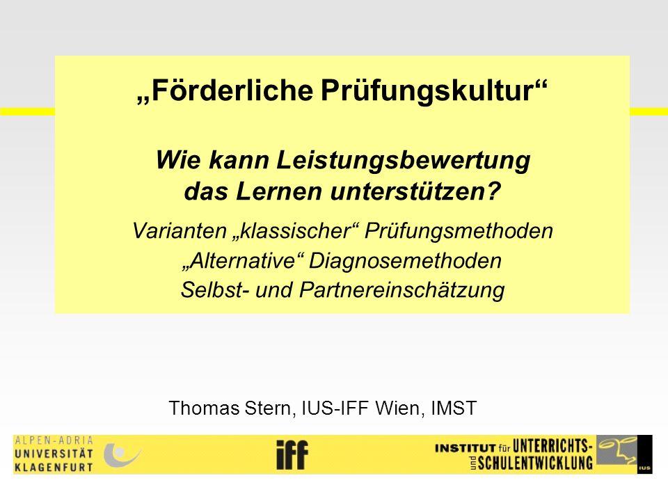 """""""Förderliche Prüfungskultur Wie kann Leistungsbewertung das Lernen unterstützen."""