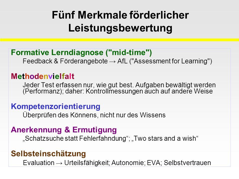 Fünf Merkmale förderlicher Leistungsbewertung Formative Lerndiagnose ( mid-time ) Feedback & Förderangebote → AfL ( Assessment for Learning ) Methodenvielfalt Jeder Test erfassen nur, wie gut best.