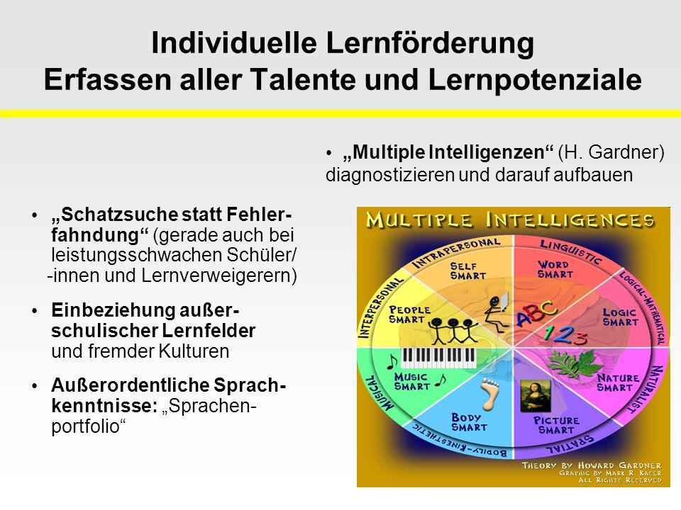 """Individuelle Lernförderung Erfassen aller Talente und Lernpotenziale """"Schatzsuche statt Fehler- fahndung (gerade auch bei leistungsschwachen Schüler/ -innen und Lernverweigerern) Einbeziehung außer- schulischer Lernfelder und fremder Kulturen Außerordentliche Sprach- kenntnisse: """"Sprachen- portfolio """"Multiple Intelligenzen (H."""