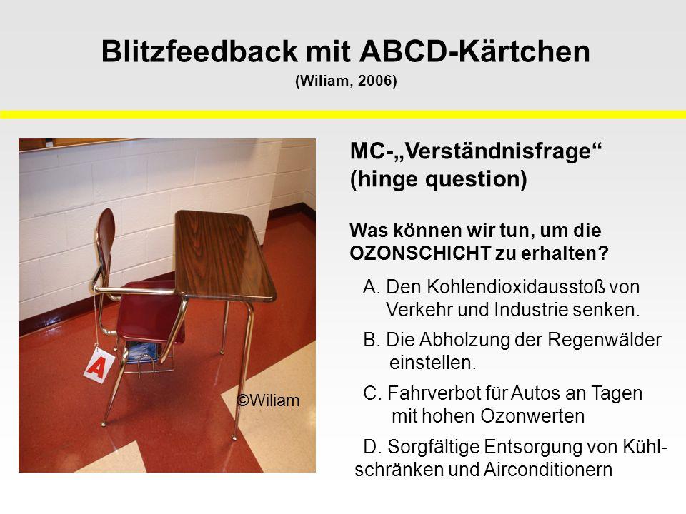 """Blitzfeedback mit ABCD-Kärtchen (Wiliam, 2006) ©Wiliam MC-""""Verständnisfrage (hinge question) Was können wir tun, um die OZONSCHICHT zu erhalten."""