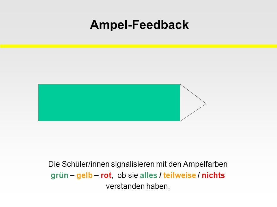 Ampel-Feedback Die Schüler/innen signalisieren mit den Ampelfarben grün – gelb – rot, ob sie alles / teilweise / nichts verstanden haben.