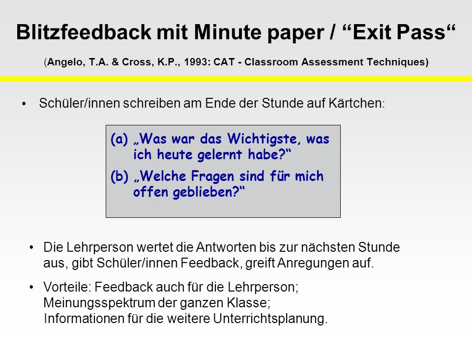 Blitzfeedback mit Minute paper / Exit Pass (Angelo, T.A.